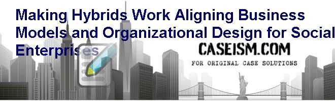 Making Hybrids Work Aligning Business Models And Organizational Design For Social Enterprises Case Solution And Analysis Hbs Case Study Solution Harvard Case Analysis